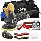 SPTA 125mm/150mm/180mm Polierer mit Variable Geschwindigkeit Profiset - Poliermaschine/Schleifmaschine 1200 Watt Set + Polierschwamm Zubehörset/Polierteller/Wollscheibe