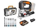 WORX 20V Akku Stichsäge WX543.2, PowerShare, 2,0Ah, 45°Schnittwinkel, 4-Wege Pendelsystem, 0-2600 / min, Staubgebläse, LED-Licht, Pendelhubstichsäge, 18V