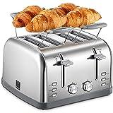 Yabano Toaster 4 Scheiben, Brötchenaufsatz, 7 Bräunungsstufen, Zentrierfunktion, mit Abnehmbarer Krümelschublade, Edelstahlgehäuse, 1800W, Retro