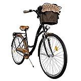 Milord. Komfort Fahrrad mit Korb, Hollandrad, Damenfahrrad, 3-Gang, Schwarz-Braun, 28 Zoll