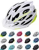 meteor Fahrradhelm Herren Damen Kinder-Helm rollerhelm mädchen kinderfahrradhelm rennradhelm Mountainbike Inliner skaterhelm fahradhelm Scooter Jungen Bike Helmet (M (55-58cm), Weiß Neongrün)