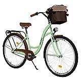 Milord. Komfort Fahrrad mit Rückenträger, Hollandrad, Damenfahrrad, 3-Gang, Mint Grün, 26 Zoll