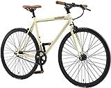 BIKESTAR Singlespeed 700C 28 Zoll City Stadt Fahrrad Fixie | 53 cm Rahmen Rennrad Retro Vintage Herren Damen Rad | Beige & Braun | Risikofrei Testen