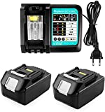Ersatz Ladegerät mit 2X Akku 18V 5.0Ah für Makita Baustellenradio 18V DMR 108 DMR110 DMR107 DMR 112 DMR104 DMR106 18 Volt Radio Batterie