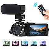 Camcorder Videokamera, ACTITOP FHD 1080P 30FPS 24MP IR Nachtsicht YouTube Vlogging-Kamera 3'Touchscreen Digitalcamcorder mit Mikrofon, Fernbedienung, 2 Batterien