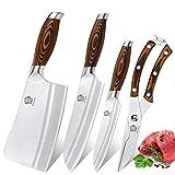 WILDMOK 4-teiliges Küchenmesserset Asiatisches Messerset Deutscher Stahl - X50CrMoV15 zum Mehrzweckschneiden und -schneiden (4-teilig Asiatisches Messer Set)