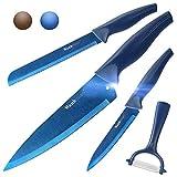Wanbasion 4 Teilig Blau Scharfe Messer Set Küche Edelstahl, Profi Messer Set Für Köche Hochwertig, Beste Küchen Messer Set Kochmesser Spülmaschinenfest mit Schäler