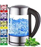 Glas Wasserkocher 1,7 Liter   2200 Watt   Edelstahl mit Temperaturwahl   Teekocher   100% BPA FREI   Warmhaltefunktion   LED Beleuchtung im Farbwechsel   Temperatureinstellung (60°C-100°C)