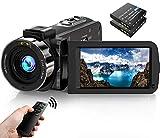 Videokamera Camcorder1080P FHD 30FPS 36MP IR Nachtsicht YouTube Vlogging Kamera Recorder 3.0 '' 270 Grad Drehung IPS Bildschirm 16X Digital Zoom Camcorder mit Fernbedienung und 2 Batterien