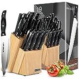 Messerblock mit Messer, HOBO 19-teiliges Messerset Premium Messerblock Küchenmesserset mit Holzblock, Edelstahl Messerset mit Messerschärfer, perfektes Messerset Set Geschenk