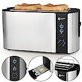 Balter Toaster 4 Scheiben ✓ Brötchenaufsatz ✓ Auftaufunktion ✓ Brotzentrierung ✓ Krümelschublade ✓ Edelstahlgehäuse ✓ Farbe: Silber (4 Scheiben) (4 Scheiben)