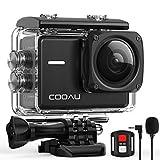 COOAU Native 4K 60fps 20MP WiFi Action Cam Sportkamera mit 8XZoom verbessertem EIS Stabilisierung 40M Wasserdicht Unterwassergehuse 170 Verstellbares Weitwinkel Externes Mikrofon 2x1350mAh Batterien
