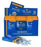 MINICO All-in-One Premium Slim Zigarettenfilter in Box (geeignet für 5-6-7 mm) 450 Stück | Zigarettenfilter aufsatz | Halterung | Teer Filter | Mini Mikro Filtrationssystem | 15 x 30 Stück Pro Box