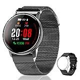 CanMixs Smartwatch Fitness Tracker, CM12 Smart Watch Armband mit Pulsmesser, Wasserdicht IP67 Uhr Stoppuhren Vibrationsalarm Anruf SMS Beachten für Damen Herren Kinder iOS Android Kompatibel