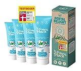 TESTSIEGER bei Stiftung Warentest (Note 1,2 SEHR GUT): DENTAL DELIGHT Polar Punch 4er-Pack Zahncreme Gletscher-Minze Vegan Klimaneutral Mikroplastik-frei