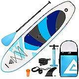 Leader Accessories Aufblasbares SUP-Board, Stand-Up-Paddel-Board, inkl. Pumpe und Rucksack, verstellbares Paddel, 3,2 m x 81 cm x 15 cm, Regenbogen, Hellblau