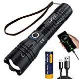outlite Taschenlampe, Extrem Hell 10000 Lumen LED Taschenlampe Aufladbar USB mit wiederaufladbarem 21700 Akku (enthalten), Zoomfähige Taktische Taschenlampe mit 5 Lichtmodi