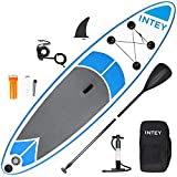 inty Aufblasbares Stand Up Paddle Board ISUP Surf Board 6 Zoll Dick Komplett-Set SUP Board, Hochdruck-Pumpe,Paddel, Rucksack, Reparaturset (blau-grau 305cm)
