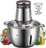 AICOOK Zerkleinerer Elektrisch Universalzerkleinerer mit 2.5L Edelstahlschüssel, 350W Elektrisch Multizerkleinerer mit 2 Geschwindigkeitsstufen für Fleisch Zwiebeln Gemüse und Babynahrungmit