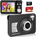 LINNSE Digitalkamera, Kompaktkamera 30MP 2,7-Zoll- mit 8X Digitalzoom Fotoapparat Digitalkamera mit 32 GB SD-Karte und 2 Batterien (Schwarz)