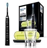 Philips Sonicare DiamondClean Elektrische Zahnbürste HX9359/89 - Schallzahnbürste mit 5 Putzprogrammen, Timer, USB-Reise-Ladeetui & Ladeglas – Schwarz