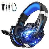 VTAKOL Gaming headset für PS4, 3.5mm Surround Sound Kabelgebundenes Gaming Kopfhörer mit Mikrofon, LED-Licht, Kopfhörer für Laptop, Xbox one, PC, Smartphone