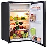 GOPLUS Kühlschrank mit Gefrierfach, 123L Standardkühlschrank, Kühl-Gefrier-Kombination Hotelkühlschrank, Höhenverstellbare Füße, Energieklasse A+ (Schwarz)