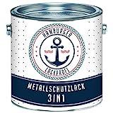 Metallschutzlack 3in1 SEIDENMATT Schwarz RAL 9005 Metallschutzfarbe 3-in-1 Grundierung, Rostschutz und Deckanstrich in Einem Metalllack Metallfarbe // Hamburger Lack-Profi (1 L)