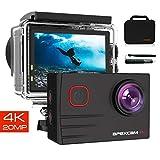 Apexcam Pro Action Cam 4K 20MP Sportkamera WiFi Unterwasserkamera 2.4G Fernbedienung Wasserdicht 40m 2.0 Zoll LCD Bildschirm 170  Weitwinkel mit Zwei 1200mAh Batterien externes Mikrofon