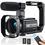 Videokamera Camcorder 4K, MELCAM WiFi Video Camcorder 30FPS für YouTube Vlogging Digitalkamera 16X Digital Zoom 3.0' IPS-Touchscreen IR Nachtsicht Camcorder mit Mikrofon,Fernbedienung,2 Batterien