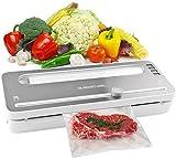 Vakuumiergerät, Automatisch-Vakuumierer für Lebensmittel, Folienschweißgerät mit BPA-Beutelrolle und eingebaute Schneidemaschinen, trockene und feuchte Lebensmittelmodi, LED-Anzeigelampen