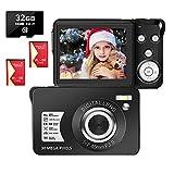 LongOu Digitalkamera 2,7 Zoll 1080P 30 Megapixel HD Fotoapparat Digitalkamera Wiederaufladbare Fotokamera mit 8-Fach Zoom-Kompaktkamera Mit 32 GB SD-Karte und 2 Batterien (Schwarz)