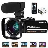 Camcorder Videokamera, ACTITOP 1080P 30FPS IR Nachtsicht YouTube Kamera 16x digitaler Zoom Touchscreen Videorecorder mit Mikrofon, Weitwinkelobjektiv, Fernbedienung, 2 Batterien und Gegenlichtblende