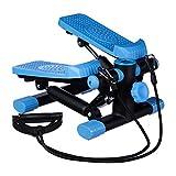 Relaxdays Stepper, verstellbarer Widerstand, mit Expander, Tacho und Schrittzhler HBT: 170 x 31 x 33 cm, schwarz-blau