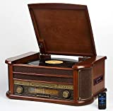 Nostalgie Holz Musikanlage | Kompaktanlage | Retro Stereoanlage | Plattenspieler | Radio | CD MP3 Player USB | Fernbedienung | MP3-Encoding: Aufnahmefunktion AUX IN | Lautsprecher | hochwertiges Holz