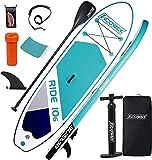 ACOWAY Aufblasbares Stand Up Paddle Board, 320 x 81.5/84 x 15 cm/Mit 180kg, Rutschfestes SUP Board Set Stand Up Paddling Board, Surfboard Stabiles Komplettes Zubehör Paddel,Hochdruck-Pumpe, Rucksack