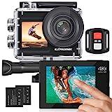 Exprotrek Action Cam 4K Unterwasserkamera Wasserdicht 40M Ultra HD 20MP Kamera 170 ° Ultra-Weitwinkel WiFi Camcorder EIS Stabilisierung mit Dual 1350 mAh Akku