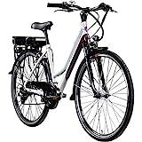 Zündapp E Bike 700c Trekkingrad Damen Pedelec Z802 Elektrofahrrad 21 Gänge 28 Zoll Rad (weiß/lila, 48 cm)