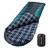 Bessport Schlafsack Winter 3-4 Jahreszeiten | Wasserdichter Leicht Deckenschlafsack in -10 ℃ bis 18 ℃ | für Erwachsene, Camping und Outdoor | 100% Sprüh Gebundene Baumwolle Füllung