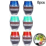 WENTS Mini Wasserhahn Wasserfilter 6 Stück Aktivkohle-runder Hahn Wasser Filter - Mini Home Coconut Aktivkohlefilter - Küche Werkzeug