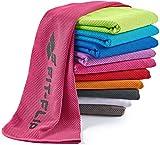 Fit-Flip Kühlendes Handtuch 100x30cm, Mikrofaser Sporthandtuch kühlend, Kühltuch, Airflip Cooling Towel, Mikrofaser Handtuch, Farbe: rosa, Größe: 100x30cm