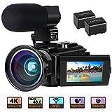 Videokamera 4K Camcorder Ultra HD Wi-Fi Digitalkamera 48MP IR-Nachtsicht 16X Digitalzoom Recorder 3,0'IPS Touchscreen Vlog-Kamera für YouTube mit Mikrofon, Weitwinkelobjektiv, 2 Batterien