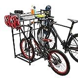HOMOPIV Fahrradständer mit Stauraum, Fahrradhalter für 3 Fahrräder, Aufstellständer mit Aufbewahrungskorb und 4 Haken, Ständer für Berg-, Hybrid-, Kinderfahrräder, Sportlager schwarz
