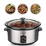 DUNLOP Schongarer 3,5l Edelstahl, Slow Cooker mit 3 Temperatureinstellungen, Warmhaltefunktion, Glasdeckel