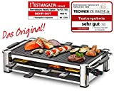 ROMMELSBACHER RCC 1500 Raclette-Grill (extra langes Kabel (2m), Tischgrill fr 8 Personen, gerippte Alu-Druckguss-Grillplatte, Xylan Plus Antihaftbeschichtung, Parkdeck, 1500 W) chrom
