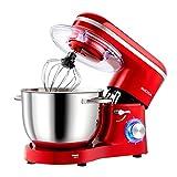Aucma Küchenmaschine Knetmaschine 1400W, 6.2L Reduzierte Geräusche Knetmaschine mit Rührbesen, Knethaken, Schlagbesen und Spritzschutz, 6 Geschwindigkeit mit Edelstahlschüssel Teigmaschin(Rot)