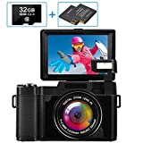 Digitalkamera 30MP 2.7K Full HD Kompaktkamera mit Flip-Screen Fotoapparat Digitalkamera mit 32 GB SD-Karte und 2 Batterien