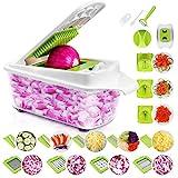 Sedhoom 23 in 1 Gemüseschneider Küchegeräte, Gemüsehobel Zwiebel Zerkleiner, Edelstahl Klingen, Obst und Gemüseschneider Zwiebelschneider, Ideal zum Hobeln von Obst und Gemüse (MEHRWEG)