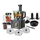 TopStrong Küchenmaschine Multifunktional, Standmixer, Zerkleinerer, Entsafter, inkl. Schneebesen, Knethaken und Schneiden, 3 Geschwindigkeiten, 1100W, 3,2L Rührschüssel & 1,5L Mixbecher