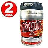 2 x Desperados red Bier mit Tequila, Guarana, Cachaca, Partyfass 5 Liter Fass inkl. Zapfhahn 5,9% vol.